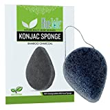 Konjac Sponge Activated Bamboo Charcoal All Natural Vegan Eco-Friendly Fiber Facial Sponge For All Skin Type
