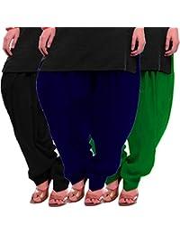 Women's Black Blue-Green Cotton Patiala Salwar