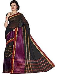 Aadarshini Women's Cotton Sarees (110000000486, Black & Purple)