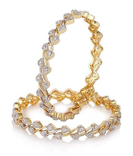 Bandish American Diamond Gold Toned Bangle Set For Women