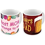 Gift For Father Mother Dad Mom Birthday Anniversary Best Mom Belongs To Me & Cheers To Dad Light Pink & Mehroon Printed I Love You Mumma & Sweet Loving Best Dad Violet & Blue Best Quality Ceramic Mug Set Of 2 Everyday Home Decor Gifting