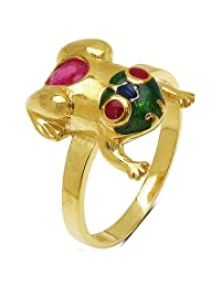 3.10 Grams Red Synthetic Stone & Ruby Gold Plated .925 Sterling Silver Frog Shape Green & Blue Enamel Ring