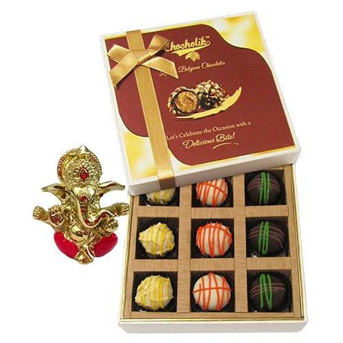 Chocholik Belgium Chocolates - 9pc Scrumptious White Collection Of Chocolates With Ganesha Idol - Diwali Gifts