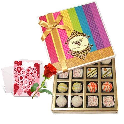 Valentine Chocholik's Belgium Chocolates - Surprising Treat Of White Truffles Box With Love Card And Rose