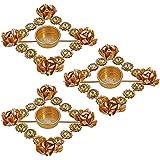 3 Sets Of Indian Decorations Diwali Diya Lights Candle Holder Floral Arrangement