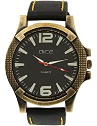 """Dice """"Brasso-0702"""" Casual Round Shaped Wrist Watch For Men. Fitted With Stylish Brass Polish Case, Beautiful Black..."""