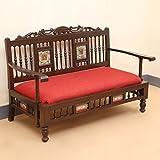 "ExclusiveLane Teak Wood ""Maharaja"" Low Rise Sofa With Dhokra & Warli Work In Walnut Brown & Royal Red - Wooden..."