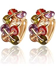 Hot And Bold Tantalizing Colorful Gold Plated Stud Earrings For Women & Girls. Made Of Alloy, Zircon & Crystals.