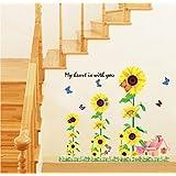 Generic DIY My Heart Sun Flowers 3D Design Wall Stickers Vinyl Decals Art Home Decor
