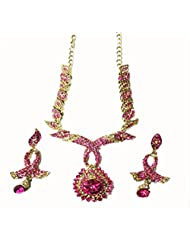Sneh Floral Twirls Coloured Stone Necklace Set For Women