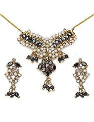 14.40 Grams Black Cubic Zirconia & White Cubic Zirconia Gold Plated Brass Pendant Set
