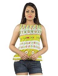 Jaipur Kurti's Pure Cotton Sleeveless Green Kurti
