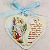 Guardian Angel Heart Crib Medal with Pink Ribbon infant gift communion baptism great gift by Mcvan