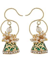 The Jewelbox Green Meenakari Gold Plated Pearl Jhumki Earring For Women