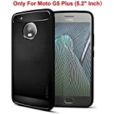 FOSO Carbon Fiber Shock Proof Rugged Armor Back Case Cover With Metallic Brush Finish For Moto G5 Plus (5.2 Inches...