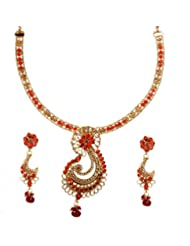 Exotic India Garnet-Red Polki Necklace Set With Faux Pearl And Designer Paisley Pendant - Copper All