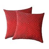 Zikrak Exim Verticle Thread Design Cushion Cover Red 2 Pcs Set 40 X 40 Cm