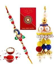 TRADITION INDIA Colorful Stylish Design Beautiful Lovable Bhaiya Bhabhi Mauli Thread And Beads Rakhi Set Of 2... - B01J8X4226