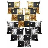 Diamond Cushion Covers Combo Gold & Silver 40 X 40 Cms(10 Pcs Set)