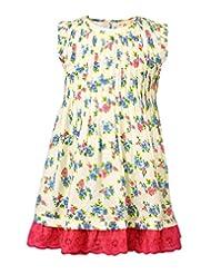 Budding Bees Girls Pink & Blue Floral A-Line Dress