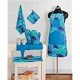 Swayam Grillz Printed Cotton 8 Piece Kitchen Linen Set - Turquoise (KS08-6715 )