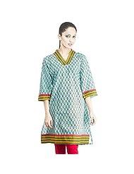 Rama Designer Cotton Turquoise Printed Women's Straight Kurta (14RAMA1421021)