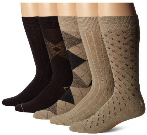 Dockers Men's 5-Pack Classics Dress Argyle Crew Socks, Khaki Assorted, 6-12 Shoe Size