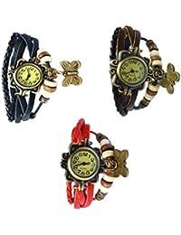 Felizer Multi Strap Bracelet Butterfly Vintage Watch For Women & Girls (Black, Red & Brown)- (Pack Of 3)