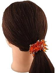 Anuradha Art Orange Colour Classy Look Hair Accessories Hair Band Stylish Rubber Band For Women/Girls