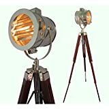 Hand Made Antique Floor Searchlight Spot Studio Tripod Floor Lamps And Lights