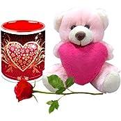 Valentine Gifts HomeSoGood The Love Shield White Ceramic Coffee Mug With Teddy & Red Rose - 325 Ml