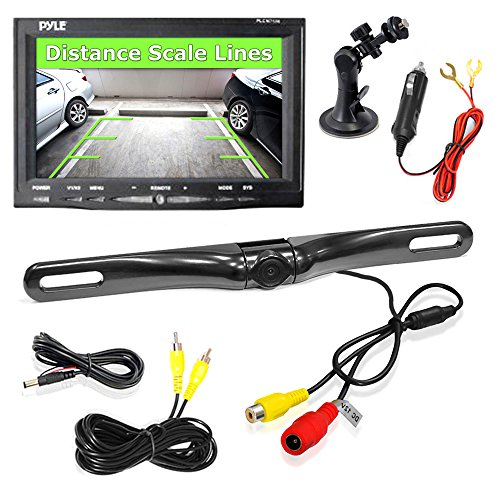 """Pyle PLCM7500 Car Vehicle Backup Camera & Monitor Parking Assistance System, Waterproof, Night Vision, 7"""" Display, Distance Scale Lines, Swivel Adjustable Camera"""