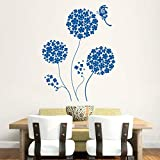 Hoopoe Decor Beautiful Round Flowers With Butterfly Wall Stickers And Decals - B011CZGQHM