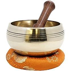 DharmaObjects Tibetan Ring Gong Meditation Singing Bowl Mallet Cushion Set
