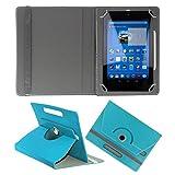 KOKO ROTATING 360° LEATHER FLIP CASE FOR Datawind UbiSlate 3G7 TABLET STAND COVER HOLDER SKY BLUE