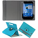 KOKO ROTATING 360° LEATHER FLIP CASE FOR Datawind UbiSlate 7C Plus TABLET STAND COVER HOLDER SKY BLUE