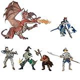 Papo Dragon Battle Set: 2-Headed Red Dragon, Dragon King, Sorcerer, King of Dwarfs, Conquistador Knight, Crossbowman Knight