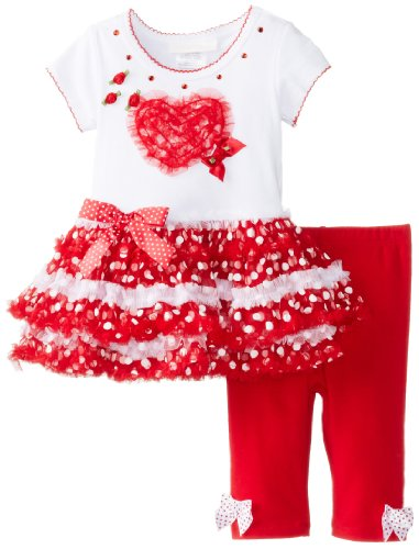 Bonnie Baby Girls Newborn Heart Applique On Mesh Skirt and Capri