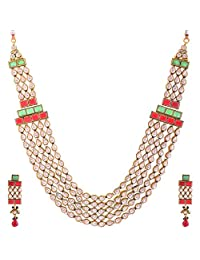 Sapna Jewellery Copper Based With Gold Plated And Semi Precious Stones Necklace Set For Women's - B00QTDNU2W