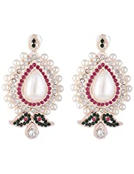 Bel-en-teno Pink & Green Alloy Earring Set For Women