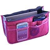 Wowlife Ladies Women Travel Makeup Insert Handbag Organiser Portable Expandable Tidy Bag (Hot Pink)
