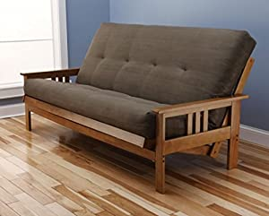 Amazon Andover Full Size Futon Sofa Bed Honey Oak Wood Frame Suede Innerspring Mattress
