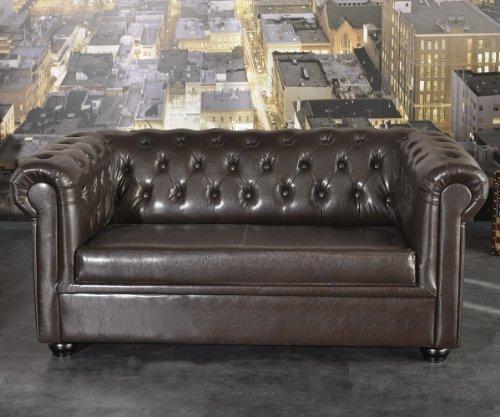 Sofa Chesterfield 160x90 cm Braun Design Couch Abgesteppt 2-Sitzer