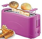 Toaster 4 Scheiben Langschlitz Toster Toastautomat 1300 Watt Schwarz, Pink (pink)