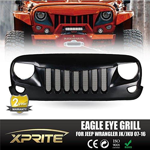 Xprite Front Matte Black Eagle Eye Grille Grid Grill W/ Mesh Insert for Jeep Wrangler Rubicon Sahara Sport Jk 2007-2016