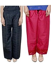 IndiWeaves Women Full Cotton Chikan Black Palazzo With Cotton Red Chaudi Lace Semi- Patiala Salwar - Free Size (Pack Of 1 Palazzo With 1 Patiala Salwar)