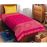 SPACES Allure Red Cotton Single Bed Sheet With 1 Pillow Cover