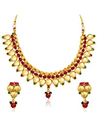 Sukkhi Beguiling Gold Plated Temple Jewellery Necklace Set For Women