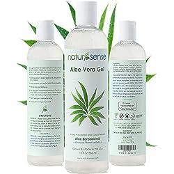 Natur-Sense Aloe Vera Gel - 99.75% Certified Organic - 12 oz. - For Face, Hair, Anti-Aging, Sunburn, Natural Relief from Acne, Psoriasis, Eczema, Skin Irritations