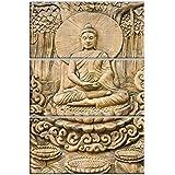 Nish! '3D Effect' Collection | Religious & Spiritual | Gautam Buddha Artistic Tiles | Decorative Wall Mural Highlighter Designer Digital Tiles (Ceramic Tiles - Semi Gloss Finish, 2ft X 3ft, UV Cured, Set Of Three 1ft X 2ft Tiles) For Home, Living Room